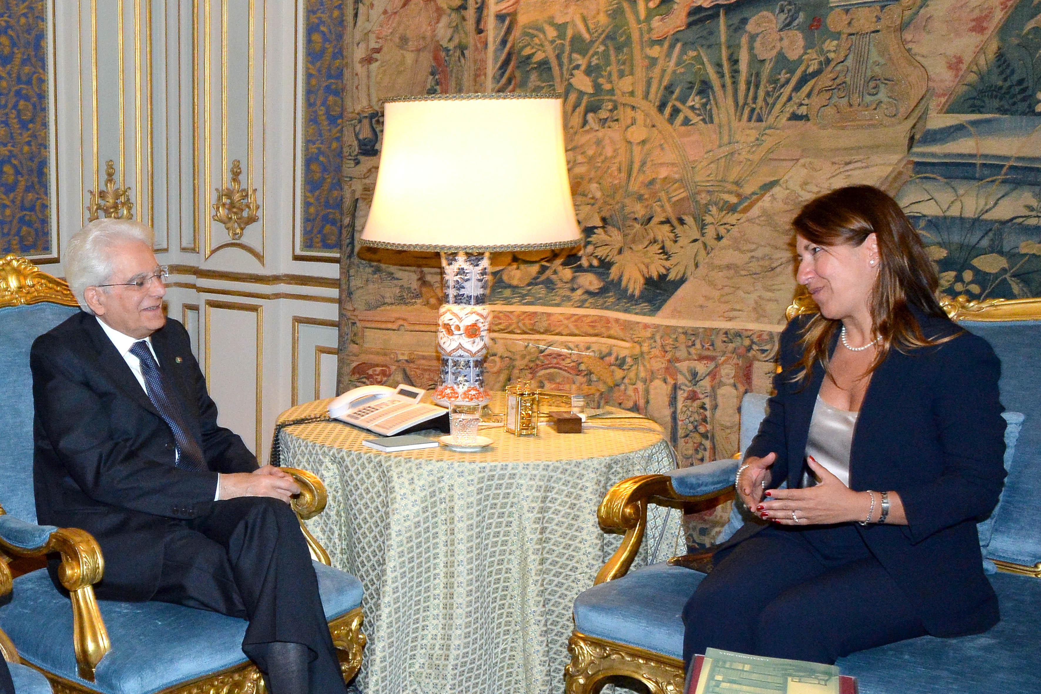 Incontro Presidente della Repubblica Mattarella, avv. Mirella Casiello, Presidente OUA